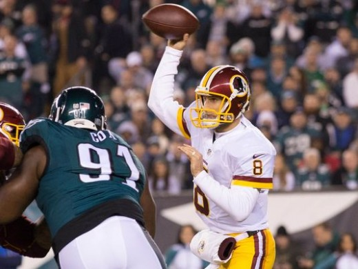 Washington Redskins QB Kirk Cousins (R) should get used to seeing Philadelphia Eagles DT Fletcher Cox (L)