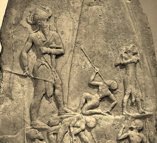Nephilim giants immortalized in stone relief.
