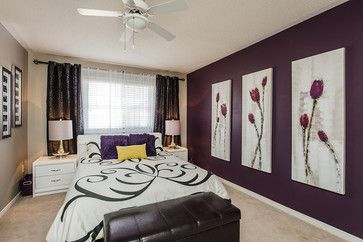 This bedroom has one accent wall painted in eggplant, but the whole room can be done as well.