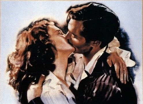 "Rhett Butler kisses Scarlet O'Hara in this movie poster for ""Gone With the Wind."""