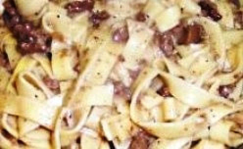 Flat egg noodles in a creamy, mushroom sauce, with garlic and hamburger.