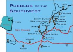Location of the 19 pueblos in New Mexico today.