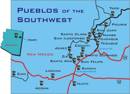 Location of the 19 pueblos in New Mexico today.