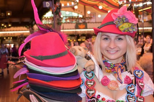 A woman selling her special hats.