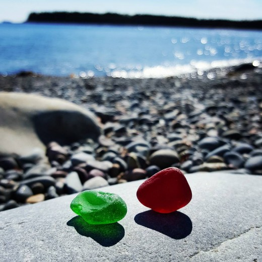 Some Great Finds On The Shore That Day!!  Large Pieces Of Green & Red Seaglass Pieces!