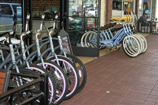 Bicycles are ready to rent outside Downtown Bicycle.