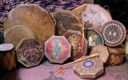 Handmade leather drums made by Taos Pueblo native momaLynn