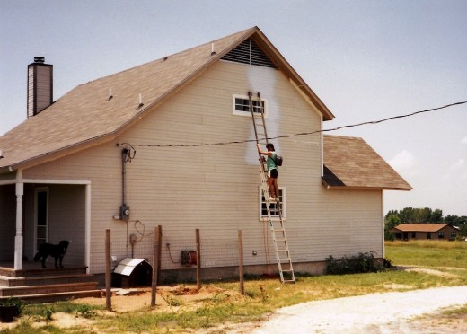 It took a lot of courage to climb the tall ladder and paint the exterior.