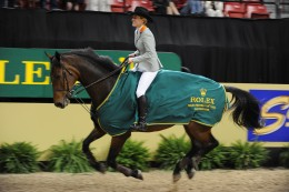Meredith Michaels-Beerbaum and Shutterfly taking their victory gallop at the World Cup in Las Vegas.