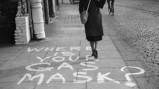 Photo: A striking message painted onto a pavement in Manchester reminds everyone to carry their gasmask at all times. The picture was taken on 5 September 1939.