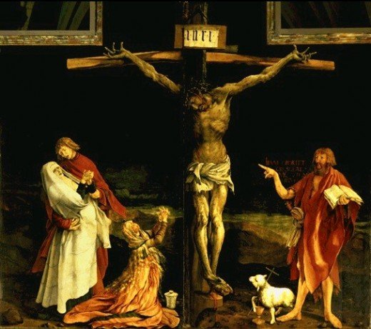 Matthias Grünewald ca. 1480 – 1528 The Crucifixion oil on panel (269 × 307 cm) — 1510-1515