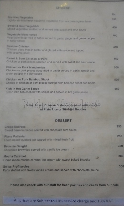 Gurkha's Restaurant menu