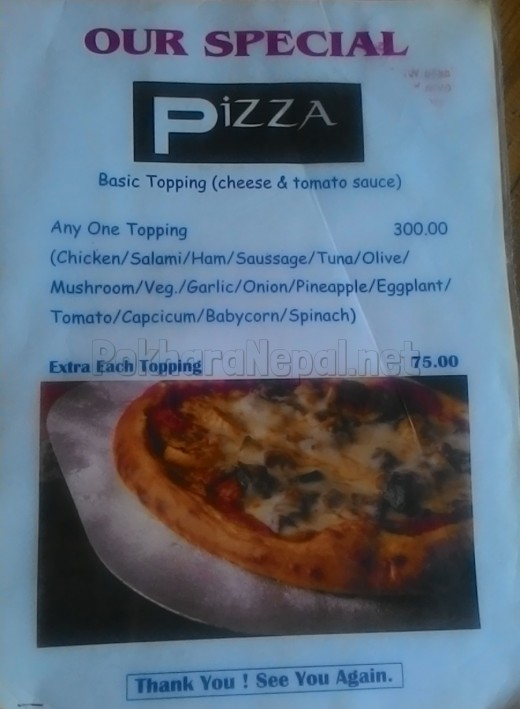 Pokhara Pizza House menu