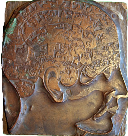 Brass phrenology head used by George Burgess