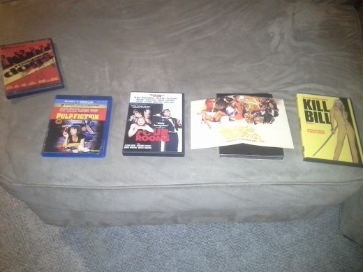 1992 - Reservoir Dogs 1994 - Pulp Fiction 1995 - Four Rooms 1997 - Jackie Brown 2003 - Kill Bill Vol 1