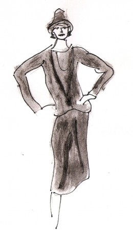 Sketch by Dolores Monet after little black dress sketch by Karl Lagerfeld