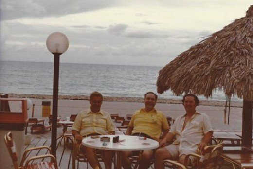 Brothers Bob, Bill and DonTorpey enjoy the waterfront at Lauderdale-by-the-Sea, Florida.