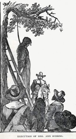 Description: Often used as an illustration of the Salem witch trails, this illustration depicts the execution of Ann Hibbins on Boston Commons in 1657. Source: Lynn and Surroundings, by Clarence. W. Hobbs, Lynn, Mass.: Lewis & Winship Publishers