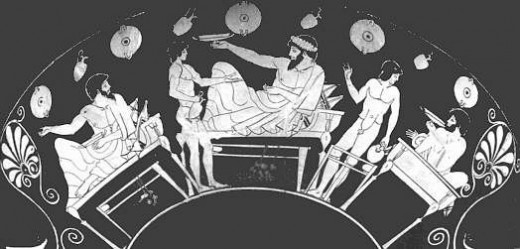 In Sparta, men ate together in 'mess' houses. These occasions were called syssitia. All members of the mess had to contribute some food from their lands. The usual food included a black soup