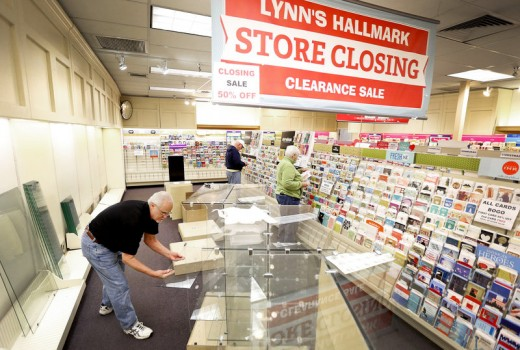 Hallmark has left the physical shopping mall for the online mall.  Buy them when stores are closing down.  You never know when you'll need them.