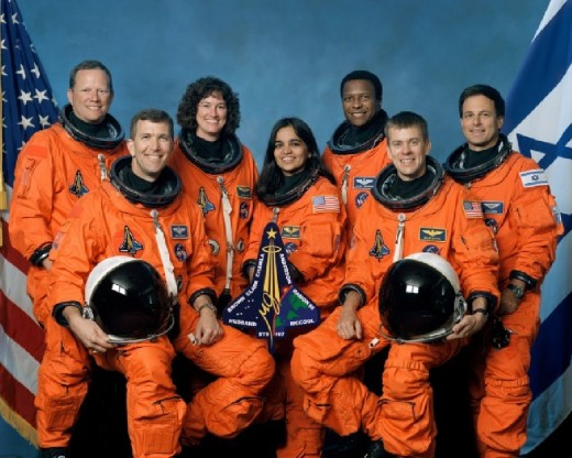 Crew of Space Shuttle Columbia Which Broke up on Re-Entry