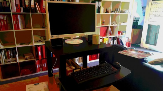 An example of a home made standing desk