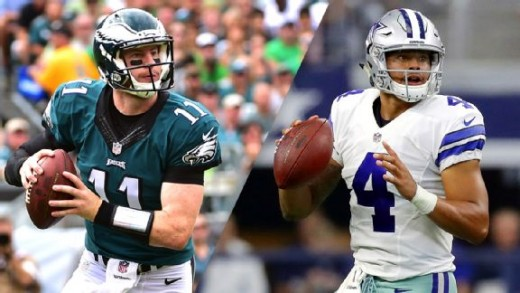All the pregame hype is about the rookie QBs, Philadelphia Eagles QB Carson Wentz (L) or Dallas Cowboys QB Dak Prescott (R)