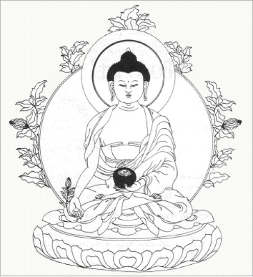 Medicine Buddha  holding the Mirobalan fruit (Image from Mirobalan Clinic)