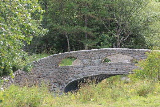 The historic Cobble Stone bridge that crosses South Brook River. Nicknamed Lovers Bridge, legend says that kissing one's significant other on this bridge means that you will marry. This area was also the site of the original swimming pool.