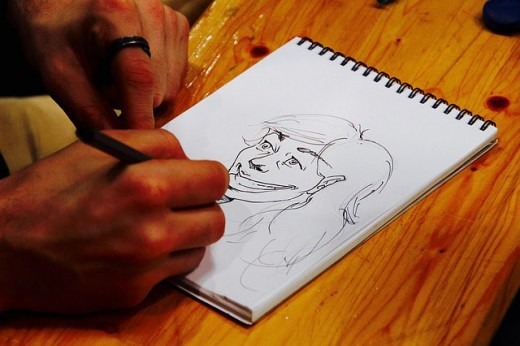 Sketch an outline or draw a detailed face before painting a portrait.