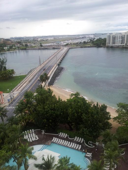 San Juan bridge leading across town.