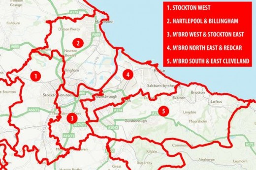 These are proposed political boundary changes on either side of the River Tees around Middlesbrough and Stockton