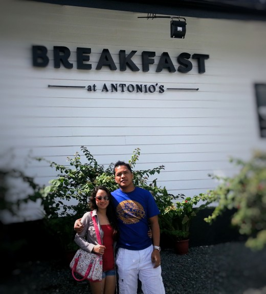 me and my wife celebrating our wedding anniversary at Antonio's Breakfast
