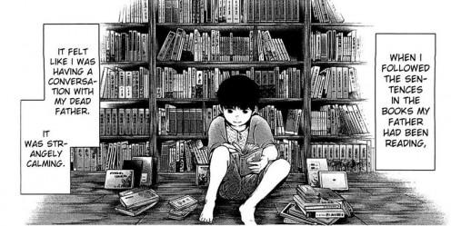 Kaneki reading his father's books.