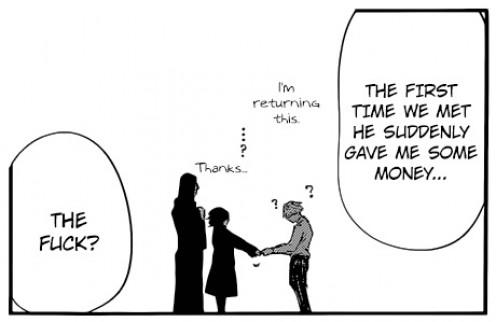 Suzuya returning the money he stole from Kaneki to Sasaki.