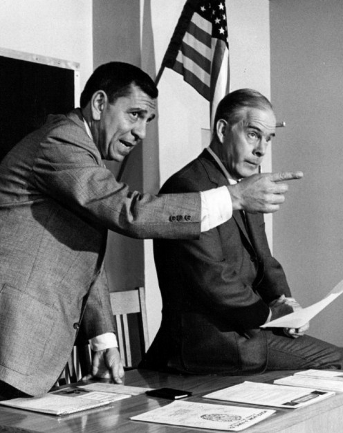 Jack Webb and  Harry Morgan on the  set of Dragnet in 1968