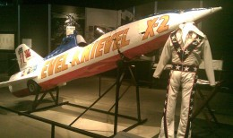 The rocket and jump suit  that belonged to dare devil  Evel Knievel
