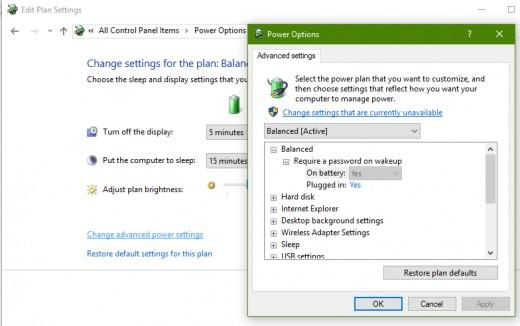Windows 10 Advance Power Settings