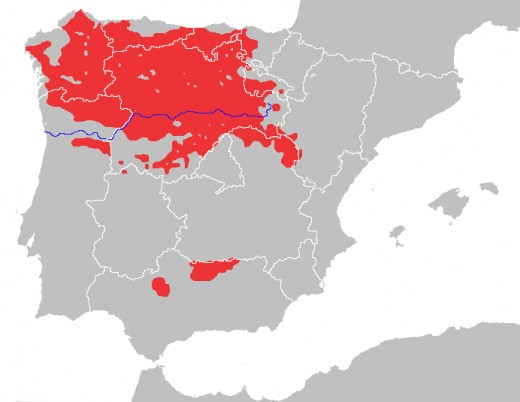 Approximate geographical range of the Iberian wolf (Canis lupus signatus).