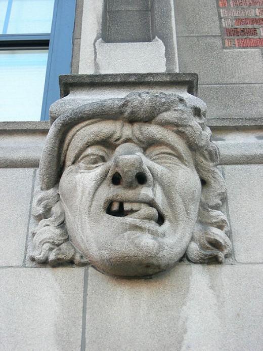 Gargoyle, over The Ugly Mug (coffeehouse), University Manor building, University District, Seattle, Washington.