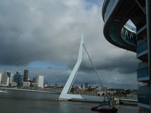 The Erasmus Bridge in Rotterdam, the Netherlands. The SeaWalk on the Royal Princess is seen on the upper right.
