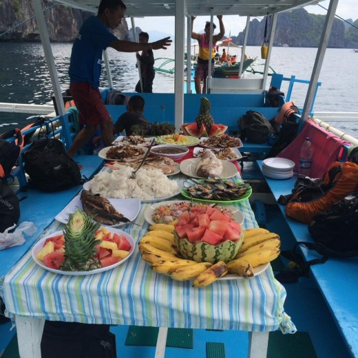 On-board dining while island hopping in El Nido