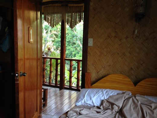 A standard double room of El Nido View Deck Cottages, around US$40 a night with breakfast for 2
