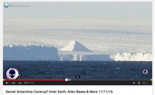 This screen capture taken from a YouTube video clearly shows what appears to be a pyramid covered in snow on the coast of Antarctica.