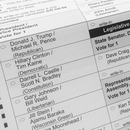 The 2016 national ballot. Elector candidates do not appear under their respective candidates.