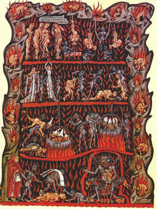 Medieval illustration of Hell in the Hortus deliciarum manuscript of Herrad of Landsberg (about 1180)