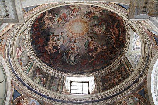 Ceiling of the dome of the chapel of the house of Saint Pius V (1566-1572) decorated with frescoes by painters Giorgio Vasari (1511-1574) and Federico Zucarri (1529-1566) - Vatican