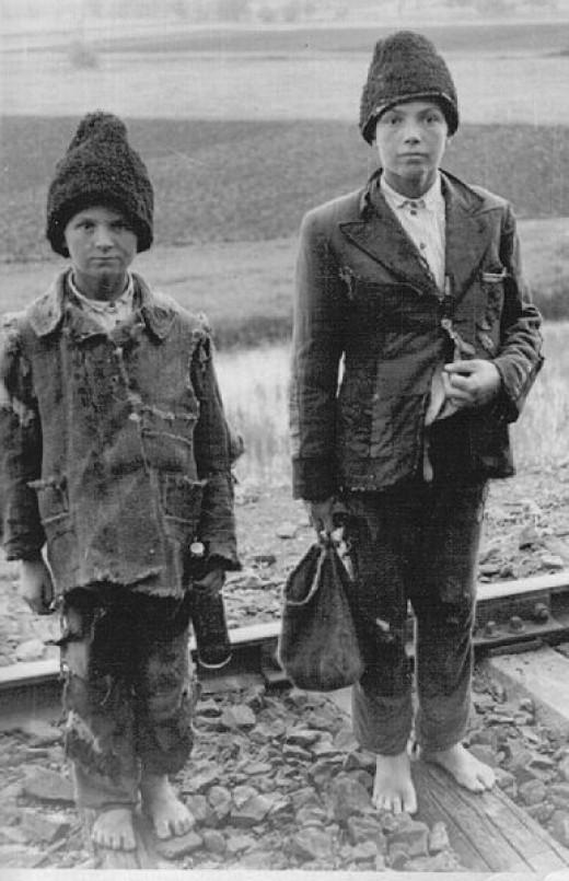 "Lost Russian children (""Wolfskinder"") during WW II about 1942."