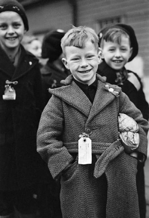 Dutch refugee children arrive at Tilbury in Essex during 1945.