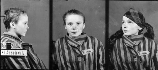 Czesława Kwoka, child victim of Auschwitz, as shown in her prisoner identification photo taken in 1942 or 1943. Photograph attributed to Wilhelm Brasse, taken in 1942 or 1943, exhibited at Auschwitz-Birkenau State Museum.